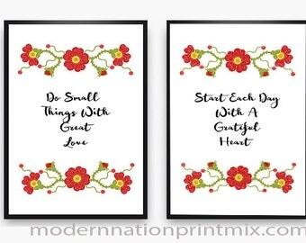 Motivational Quotes Set, Do Small Things With Great Love, Start Each Day With A Greatful Heart, Cursive Quotes, Inspirational Quote, Quotes