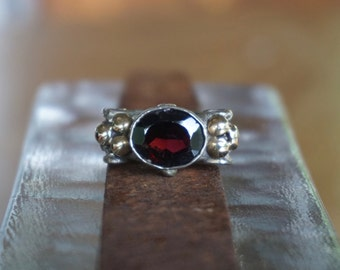 Garnet Ring in Silver with gold