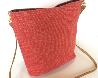"""NinieCousette mini"" bag in red Heather lane fabric"