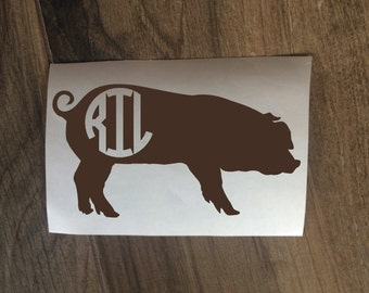 Pig Swine Monogram Decal Sticker / Yeti Pig Decal / FFA Show Pig Monogram / Car Ag Pig 4H 4-H Project Decal / Pig Swine Animal Decal Sticker
