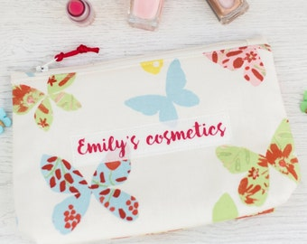 Personalised Butterfly Design Make-Up Bag - mother's day gift - grandmother gift - gift for nan - beauty bag - makeup bag - cosmetic bag