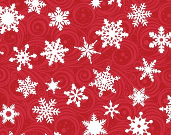 Snowflake Fabric | Red and White | Christmas Fabric  | Snow Print | Holiday | Snowflakes | Winter Print | Red Christmas Material