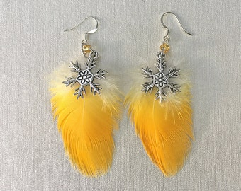 Parrot Feather Snowflake Earrings, Blue and Gold macaw