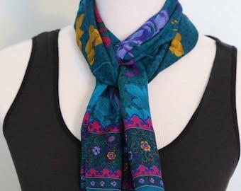 Vintage Long Silk Scarf, Head Scarf Hair Wrap, Neck Scarf, Boho Scarf, Bohemian Scarf, Head Wrap, Head Scarf, Blue Scarf, Gifts for Mom