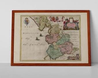 A map of Lancashire | Fine Art Giclée Reproduction | Old Map of Lancashire