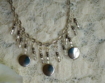 Silver Disc Dangle Necklace