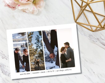 Save the Date // Quad Photo // Invitation // Elegant // Glamour // Boho // Minimal // Classy // Chic