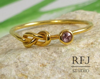 Natural Pink Tourmaline Infinity 24K Gold  Ring, October Birthstone Yellow Gold Plated Double Knot Ring, 2 mm Round Cut Stone Gold Ring