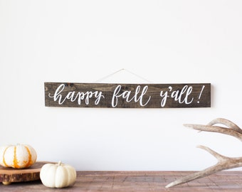 Happy fall y'all wood sign | Rustic fall sign | Barn wood autumn sign | Fall décor