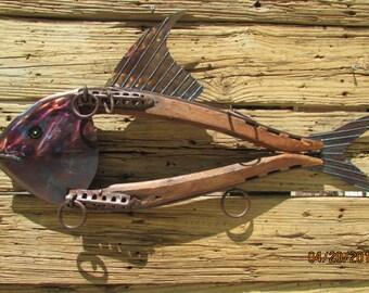 Tuna/Scrap Metal/Fish/Hanging Wall Art/Horse Collar/Metal Art/Metal and Wood
