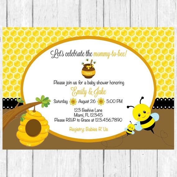 Bee Baby Shower Invitation Bee Invite Bumble Bee Baby Shower