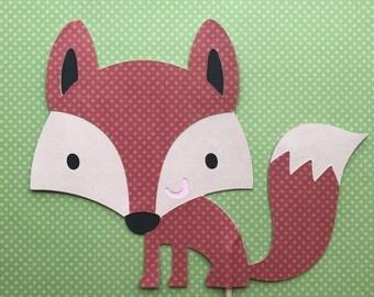 Fox cake topper, woodland animals Centerpieces, fox baby Shower decorations, fox themed party, fox die cut, woodland animals cutout.