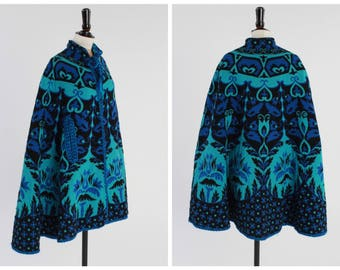Vintage 1970s Woven Tapestry Cape