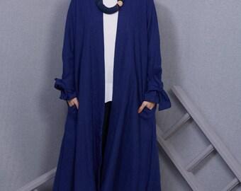 Bright Blue Linen Duster Coat, Ladies Summer Coat, Bow Sleeve, Linen A-line Coat