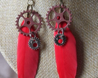 "steampunk gears ""3"" with feather earrings"