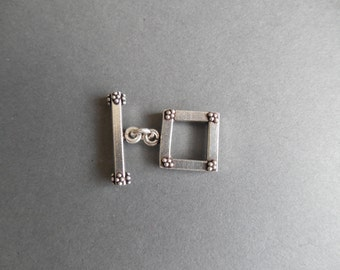 Sterling Silver Square Toggle Clasp with Granulated Detail