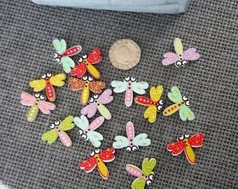 10 x Bright Coloured Dragonfly Wooden Button