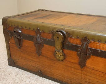 Vintage Steamer Trunk, vintage storage trunk,treasure chest, antique trunk, refurbished trunk, coffee table,tool chest