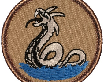 Sea Serpent Patch (313) 2 Inch Diameter Embroidered Patch