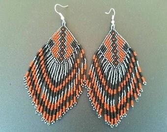 Seed Bead earrings, seed bead duster earrings, long seed bead earrings