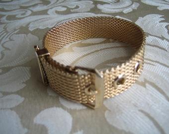 Vintage Gold Tone Mesh Belt Bracelet