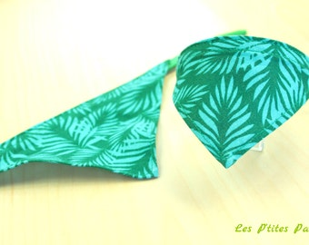 Adjustable dog collar exotic green pattern 9,4 to 11,8 inches