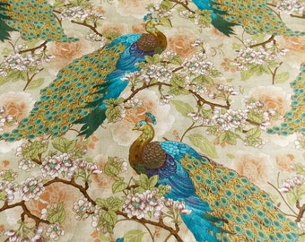 Peacock Fabric Asian Fabric Animal Fabric Pillow Fabric Curtain Fabric Placemat Fabric Home Decor Home Decorating Pillowcase Fabric