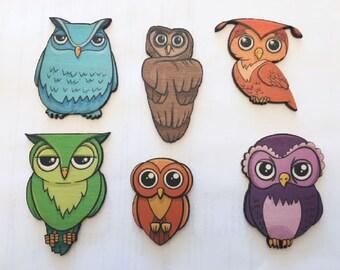Wood Laser Cut Colorful Owls