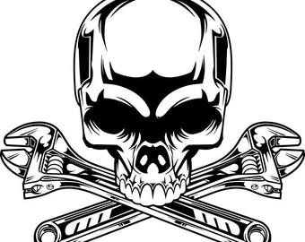 Mechanic Logo #2 Skull Wrench Crossed Engine Car Auto Motorcycle Biker Handyman T-Shirt .SVG .EPS Digital Clipart Vector Cricut Cut Cutting