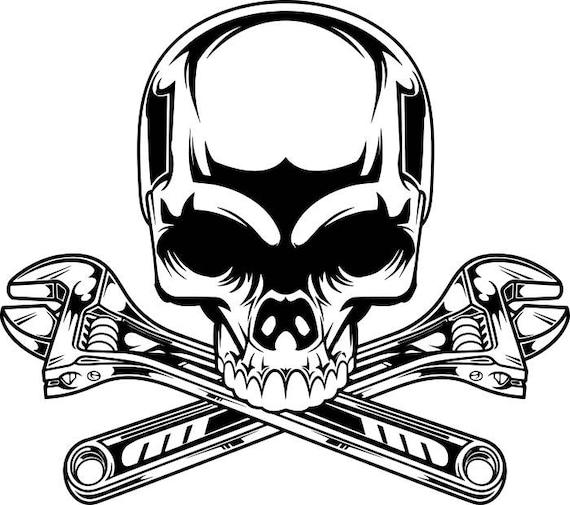 Cl t te de mort m canique logo 2 crois es moteur voiture for Logo garage mecanique