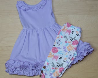 Spring/Summer Lavender Ruffle Tank Top Pearl Dress with Matching Zoe Print Button Capris