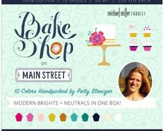 Bake Shop on Main Street Aurifil thread set, 10 cotton spools 50 wt, 220 yards each