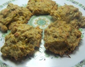 Dandelion Cookie baking kit  - Coconut oil Honey, oats -  sunflower seeds - flower petals gluten dairy free no refined sugars rustic farm