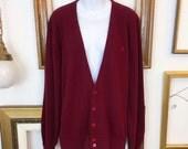Vintage Christian Dior Maroon Cardigan Sweater - sz Medium - Free Ship