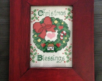 6.5x8 Finished Christmas Wreath Cross Stitch