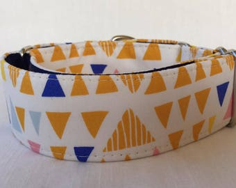 Yellow Triangles Martingale Dog Collar