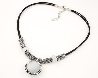 Silver Opal Tribal Bead Necklace
