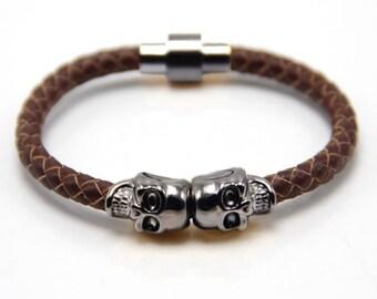 Skull Bracelet Gunmetal / Brown Nappa Leather