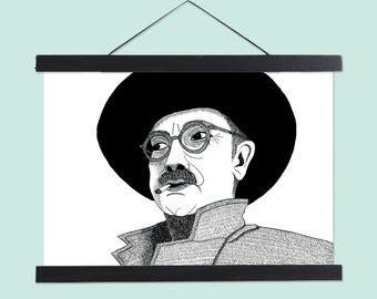 Illustrated portrait of modern artist Mark Rothko in black and white - A4 print