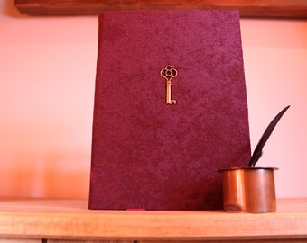 A5 Journal - Purple journal - felt notebook with embedded key and ribbon bookmark - Key journal - Key notebook