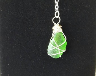 Silver wire wrapped green beach glass Y necklace