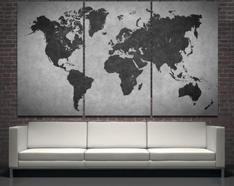 Large black modern world map wall art print decor on canvas, abstract black world map modern wall decor on canvas print set of 3 or 5 panels