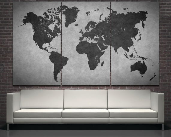 Large black modern world map wall art print decor on canvas like this item gumiabroncs Gallery