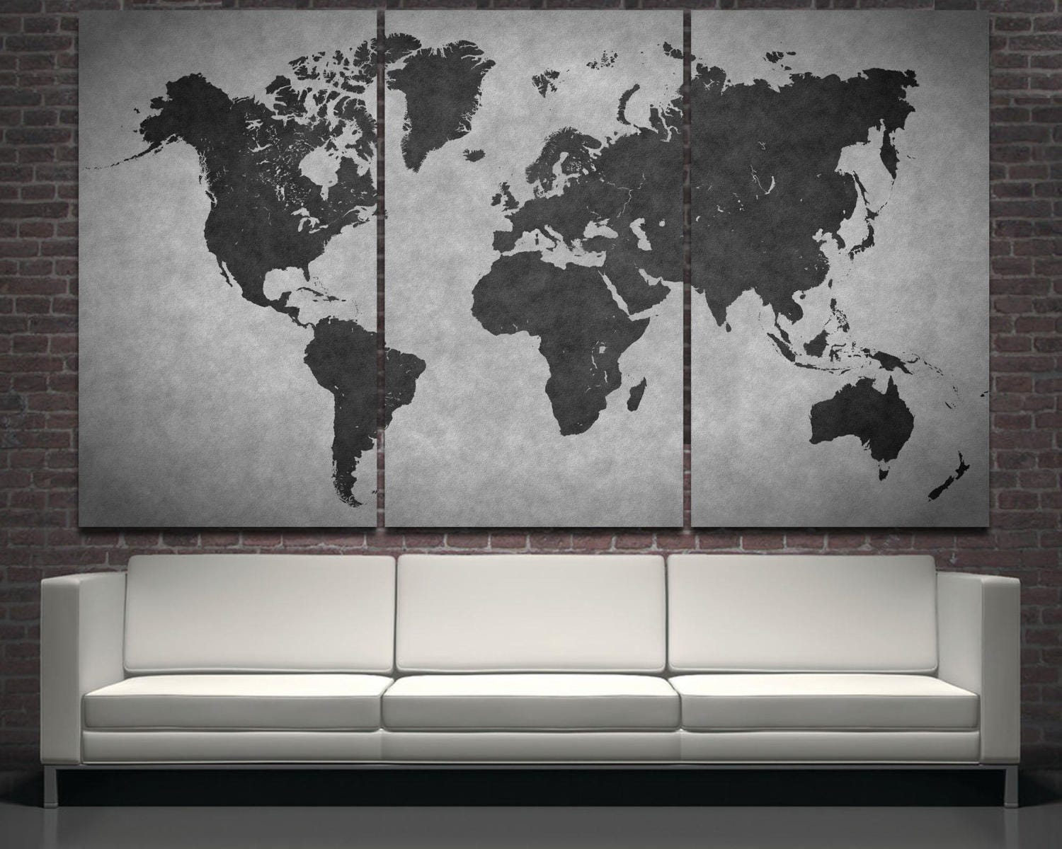 black modern world map wall art print decor on canvas