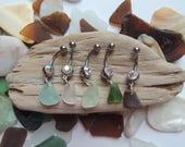 Lake Erie Beach Glass Belly Button Rings, Authentic Beach Glass, Aqua, Brown, White, Green Beach Glass