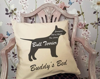 Personalised BULL TERRIER Dog Cushion or Pet Bed
