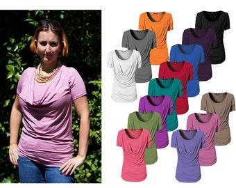 LYDIA Nursing Breastfeeding Cowl Neck top 13 colours