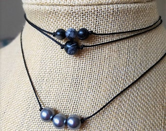 Gray and black marbled stone choker