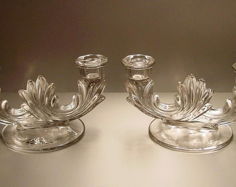 Fostoria Baroque Clear Double Candlestick Pair, Candle Holders, Vintage, Crystal, Elegant Decor