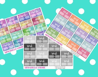 Work Schedule Half Boxes {16 Fabulous Matte or Glossy Planner Stickers} | #17-251